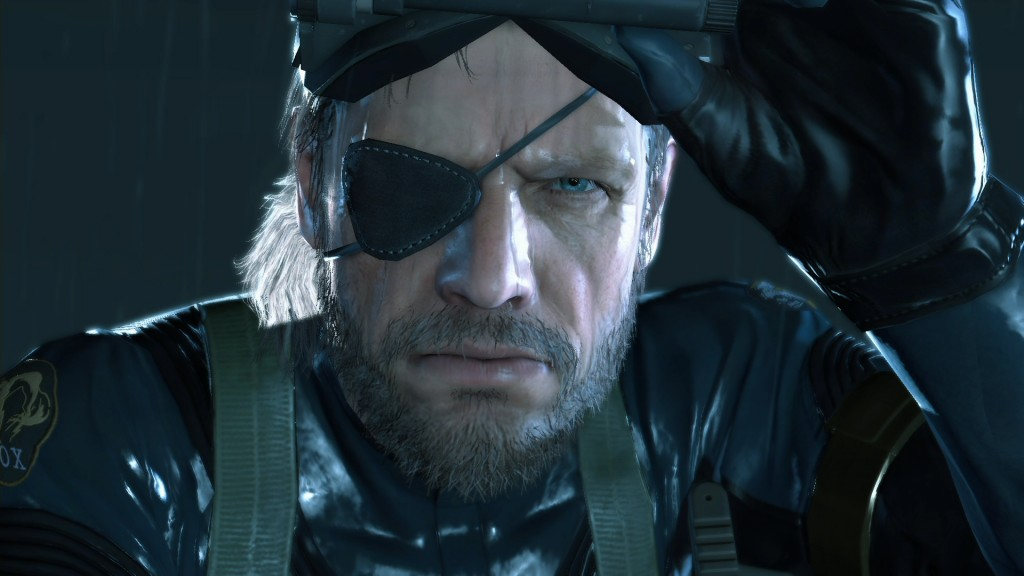 Solid Snake with an eyepatch and night-vision goggles.