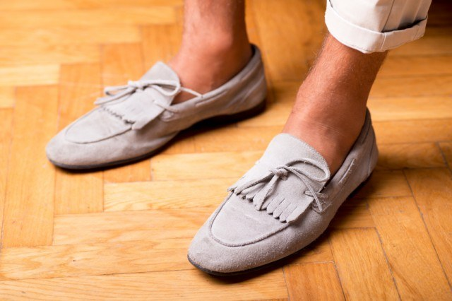 Man wearing moccasin inspired boat shoes