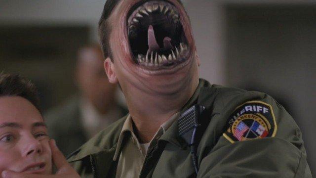 A monster whose entire mouth with pointed teeth and tongue take up his whole face on 'Supernatural'