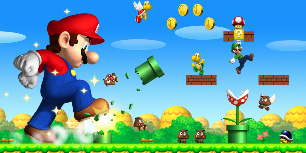 A scene from New Super Mario Bros. Wii U with a giant Mario breaking pipes and scaring goombas.