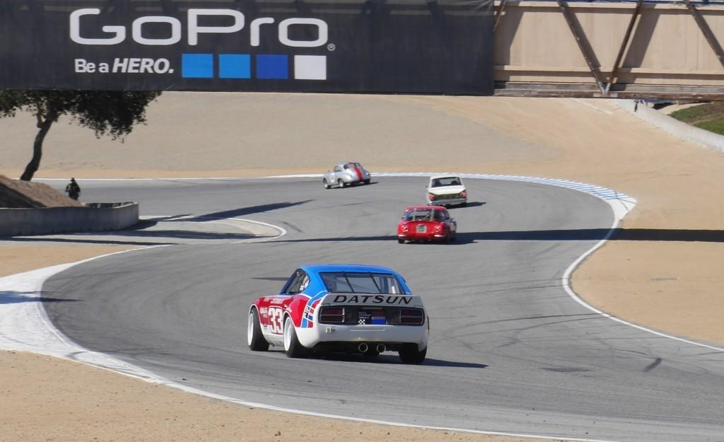 A Datsun race car on the track.