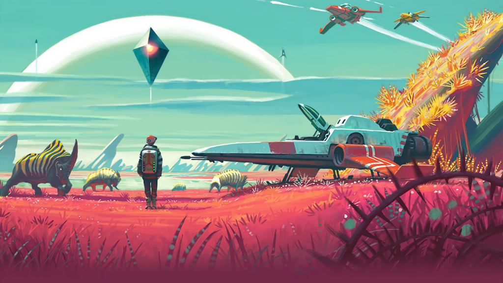 A space explorer stands near a ship on an alien planet in No Man's Sky.
