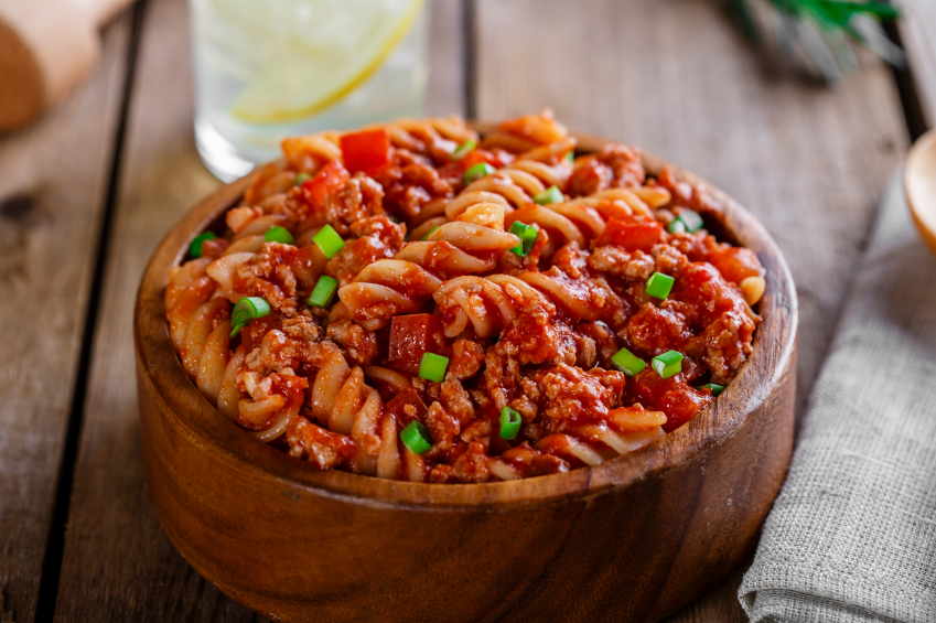 fusilli pasta with meat sauce