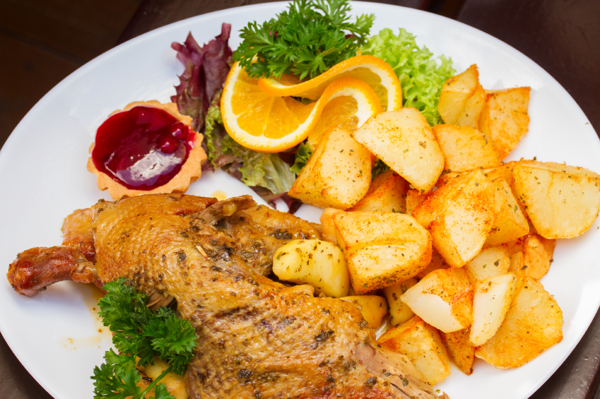 duck with roasted apples and potatoes