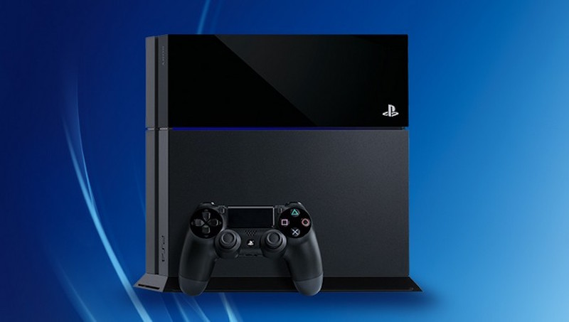 A Sony PlayStation 4 console on a blue background.