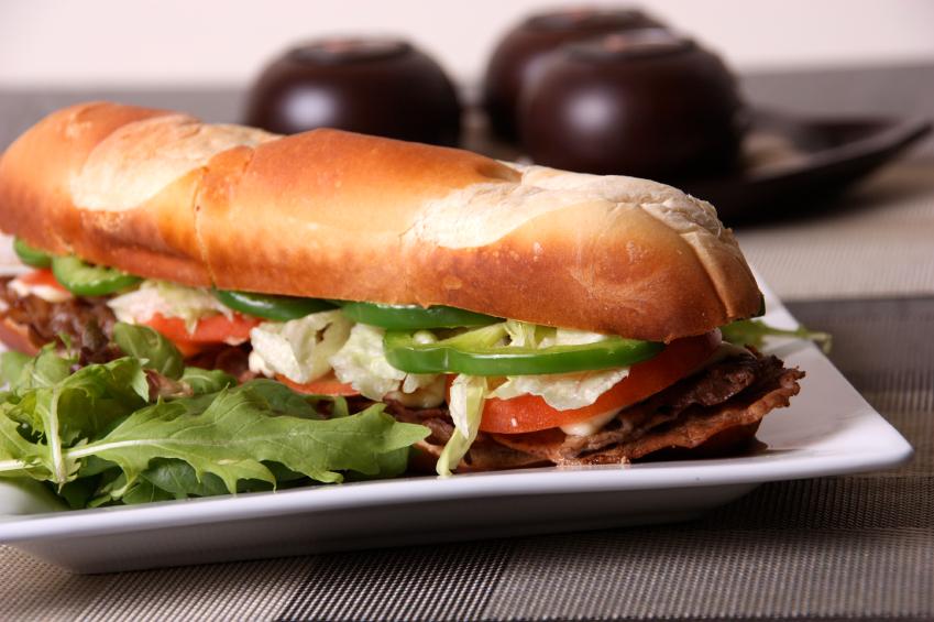 A thin version of a steak sandwich