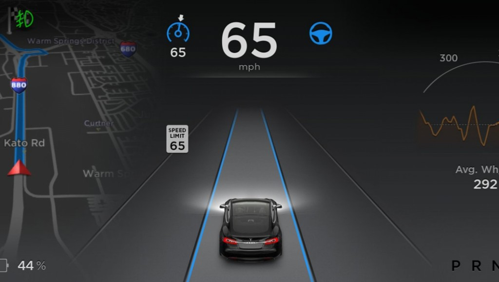 The autopilot screen on a Model S