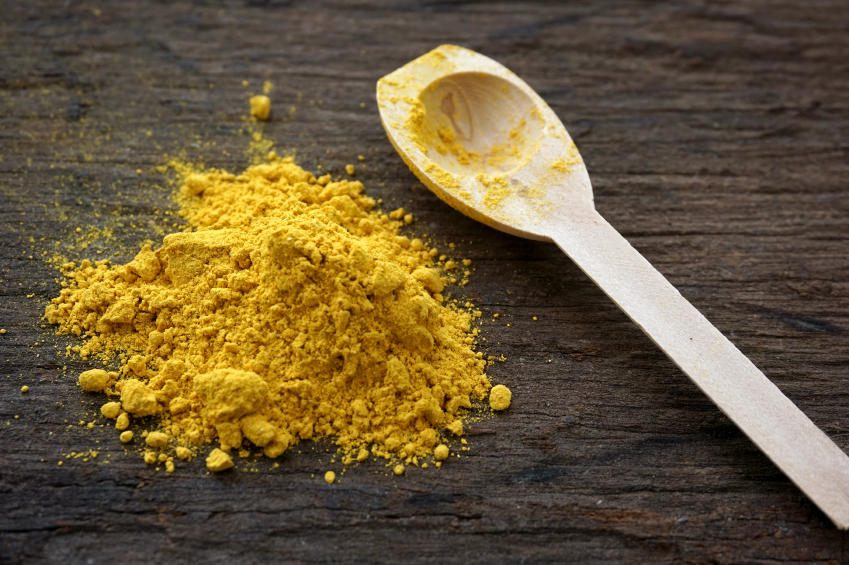 Turmeric on a table with a spoon