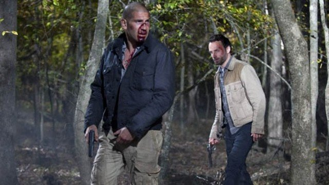 'The Walking Dead' episode 'Better Angels' with Jon Bernthal as Shane and Andrew Lincoln as Rick Grimes.
