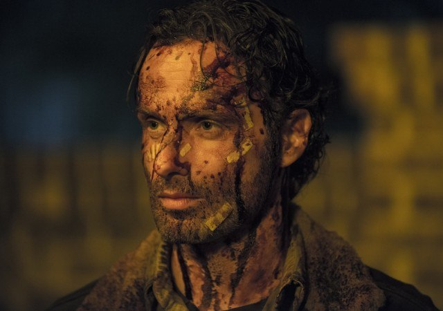 Rick Grimes (Andrew Lincoln), bloody after a particularly brutal fight in a scene from AMC's 'The Walking Dead'