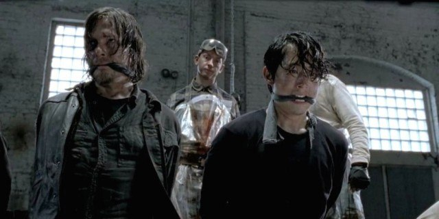 'The Walking Dead' episode 'No Sanctuary' with Norman Reedus as Daryl and Steven Yeun as Glenn.