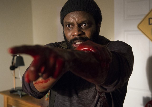 "Tyreese (Chad L. Coleman) points a bloody hand in a scene from 'The Walking Dead' episode ""What Happened and What's Going On"""