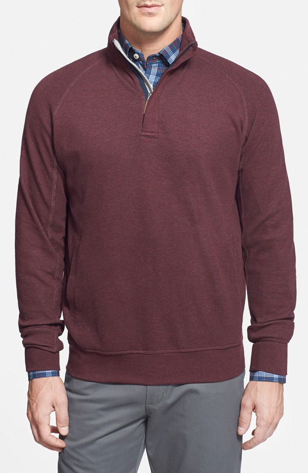 Quarter Zip Waffle Knit Pullover