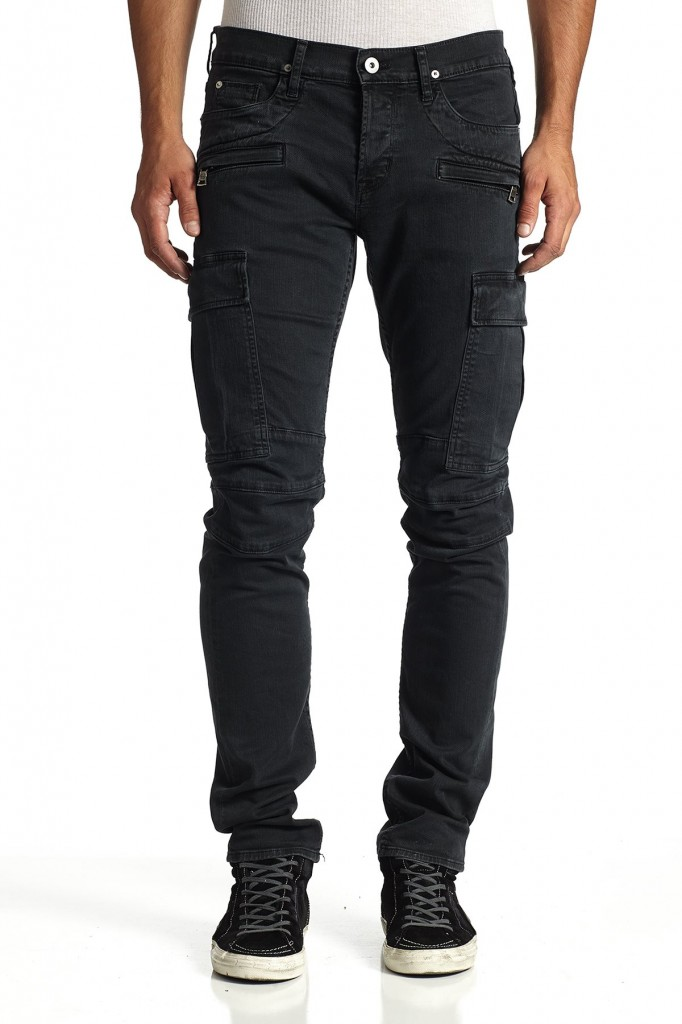 Charcoal Colored Cargo Biker Jeans