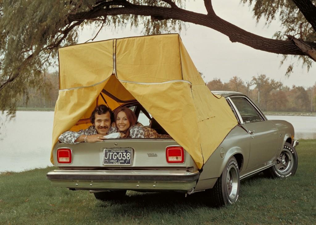 couple camping in '74 Vega