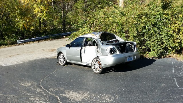 A totaled Subaru