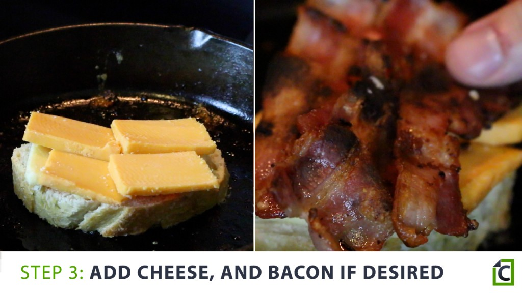 3. add cheese and bacon