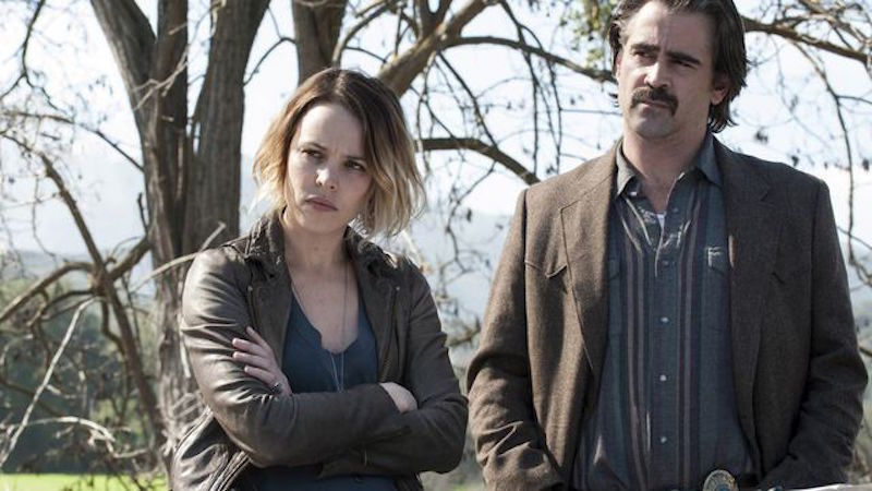 Rachel McAdams and Colin Farrell stand next to each other outdoors in True Detective Season 2