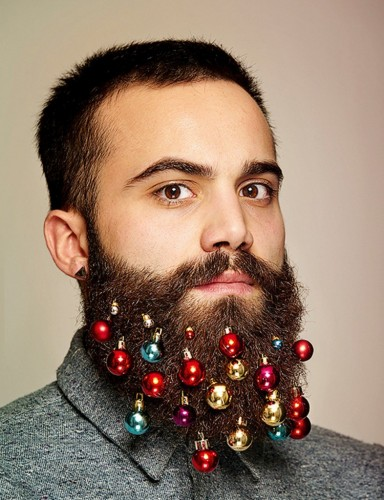 Man with ornaments in beard