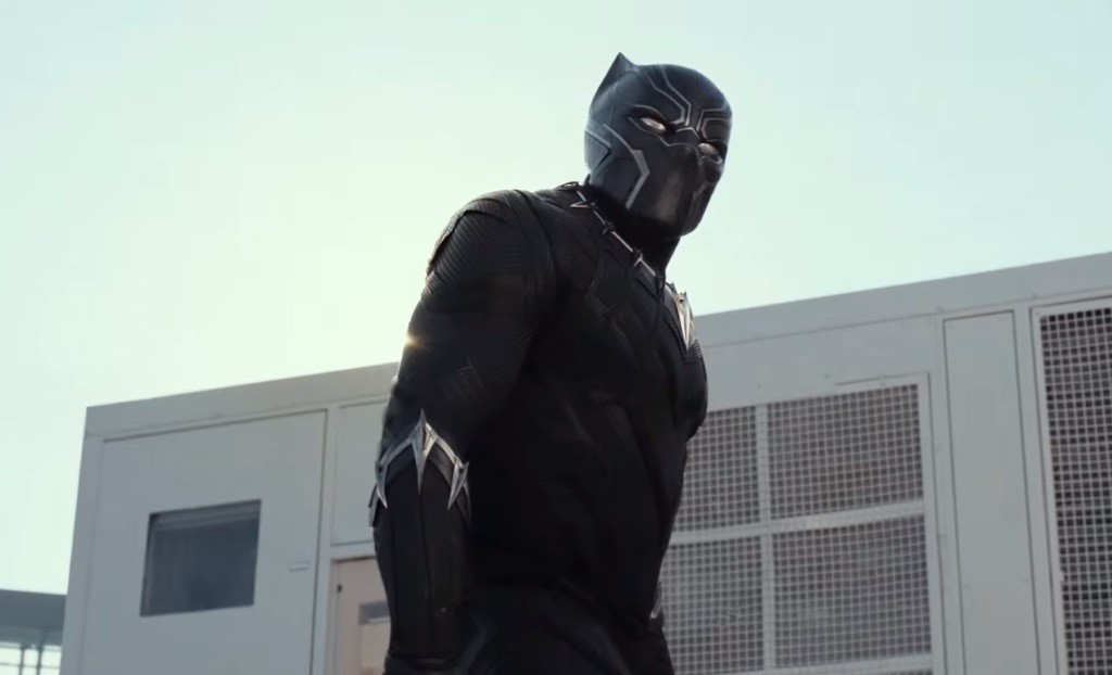 Black Panther stands in front of a building in Captain America