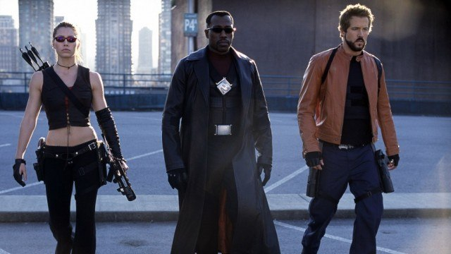 Jessica Biel, Wesley Snipes, and Ryan Reynolds in Blade: Trinity