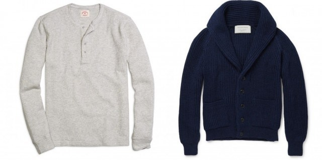 Brooks Brothers Red Fleece henley and Maison Kitsune shawl-collar cardigan