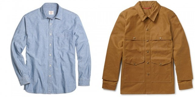 Brooks Brothers chambray sport shirt and Filson cotton-canvas cruiser jacket