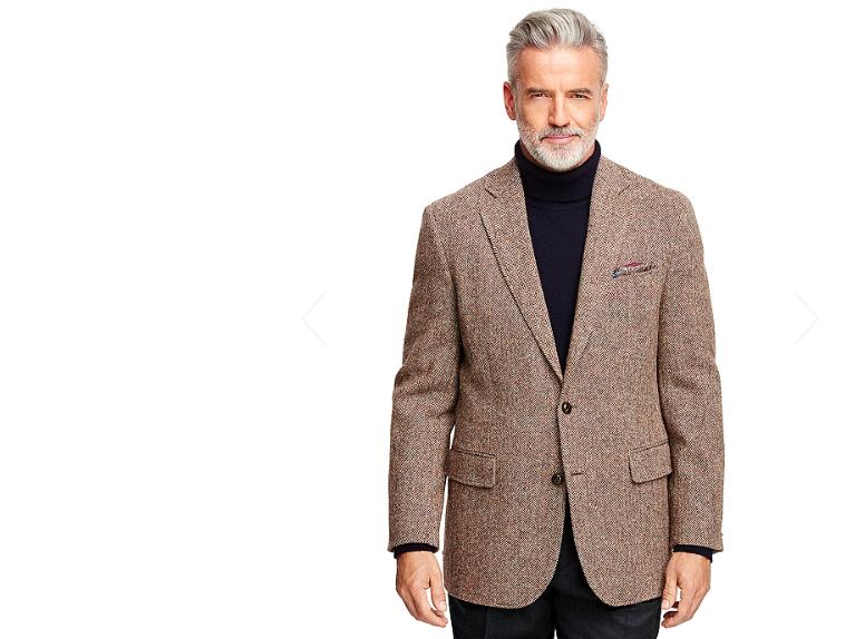 Brooks Brothers turtleneck and Harris Tweed blazer