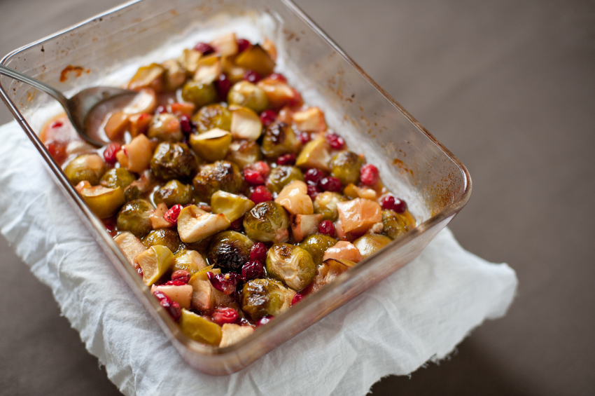 roasted Brussels sprouts, apples, cranberries