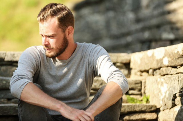 Man taking time to sit and think
