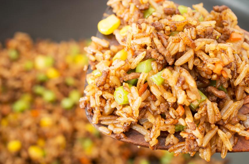 scoop of fried rice, vegetarian