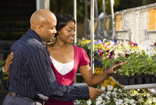 Couple shopping for flowers