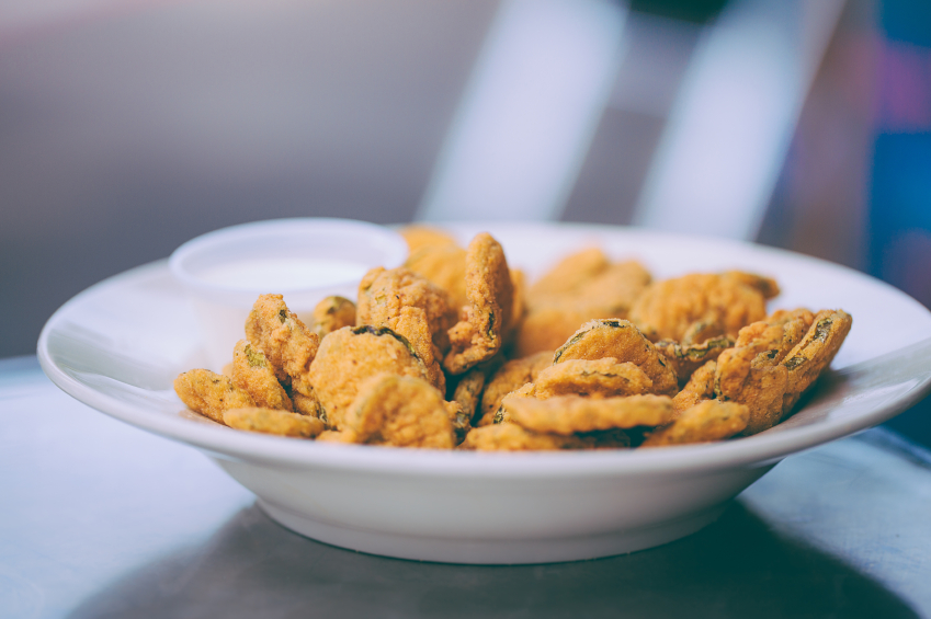 deep fried pickles in a bowl