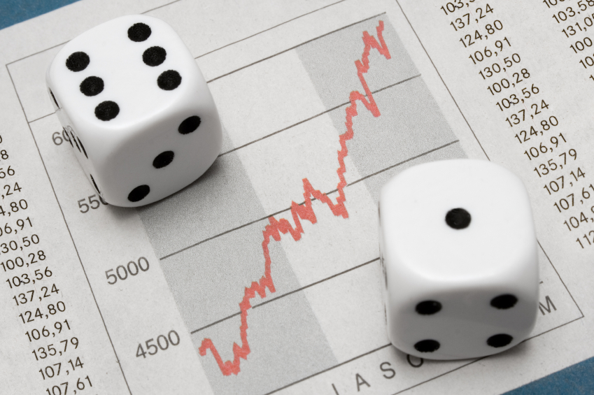 Investment chart and dice