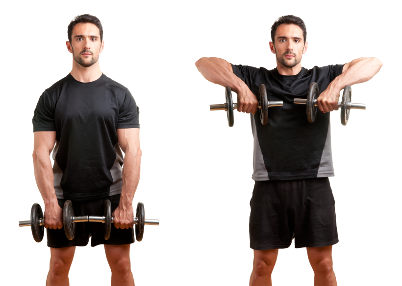 man doing upright rows