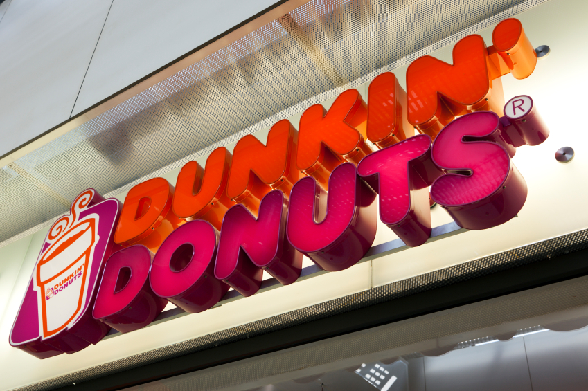 A Dunkin' Donuts sign