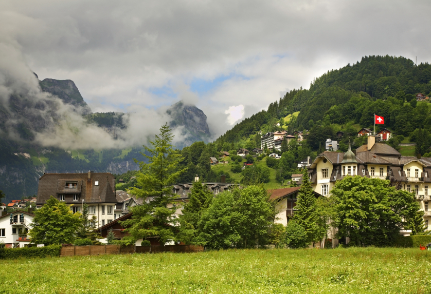 A town in the Swiss mountains