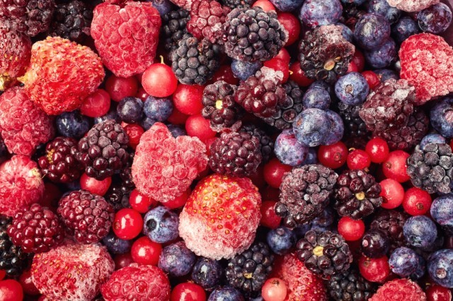 close-up for a mixture of frozen berries and curants