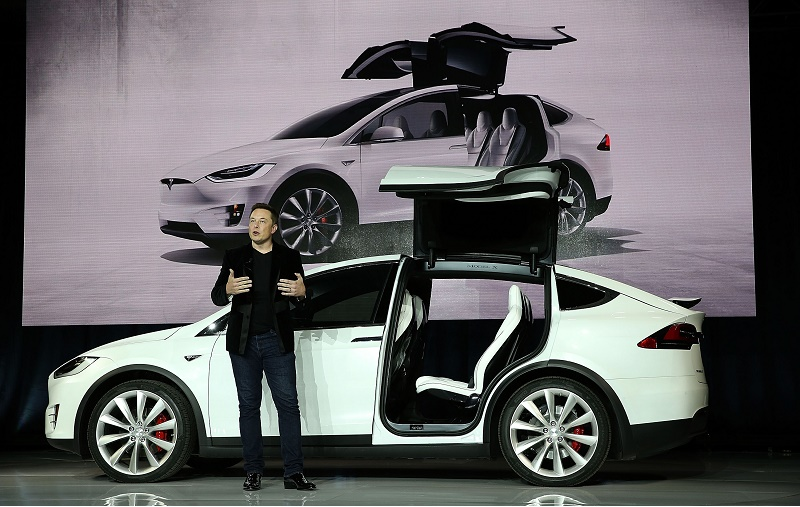 Tesla CEO Elon Musk presenting the Model X