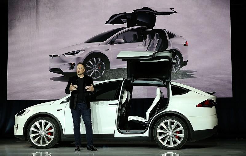 Tesla CEO Elon Musk presenting the Model X