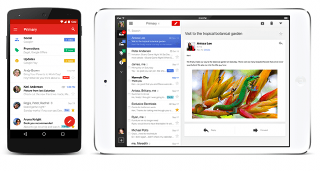 Gmail on smartphone and tablet