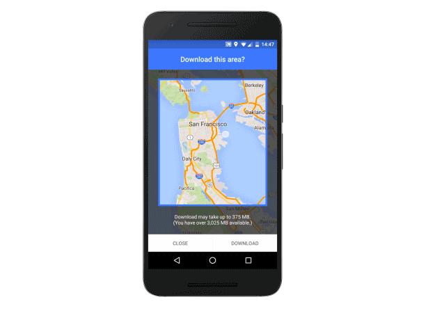 Google Maps save an area offline