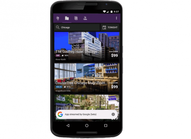 Google app streaming HotelTonight