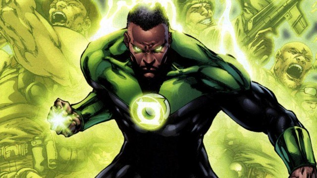 Green Lantern with his fist clenched, looking menacingly into the camera
