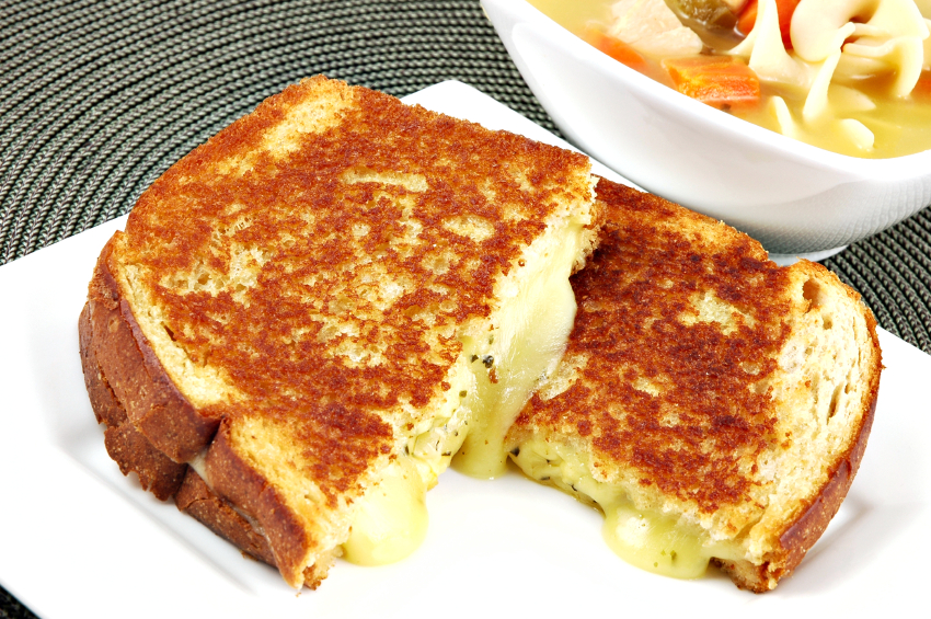 grilled cheese sandwich with soup