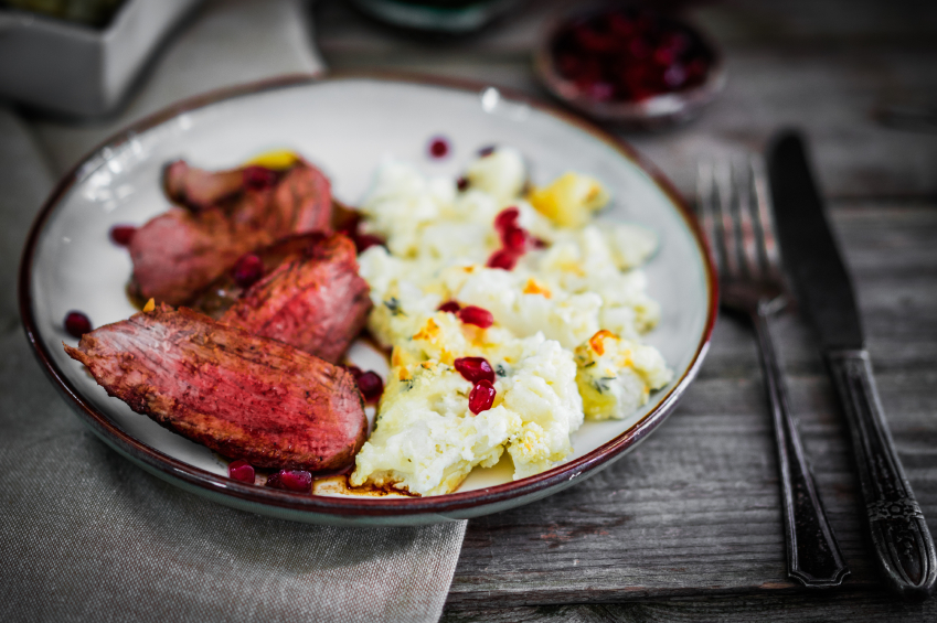 Grilled beef with cauliflower and pomegranate