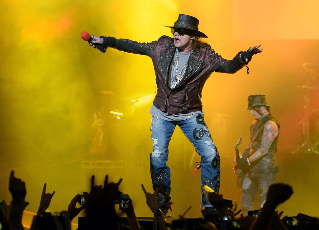 Guns N' Roses is on stage under yellow lights.