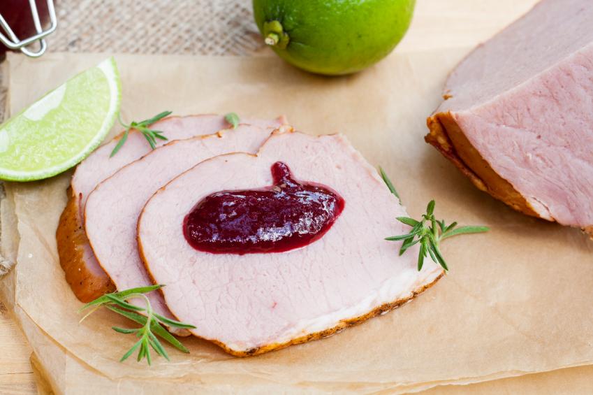 ham, berry sauce, preserves