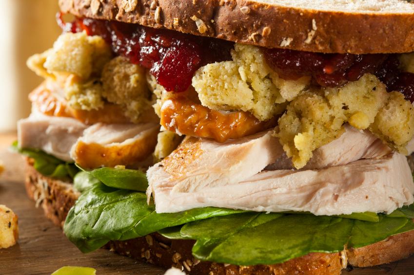 Thanksgiving leftover sandwich, turkey, cranberry, stuffing