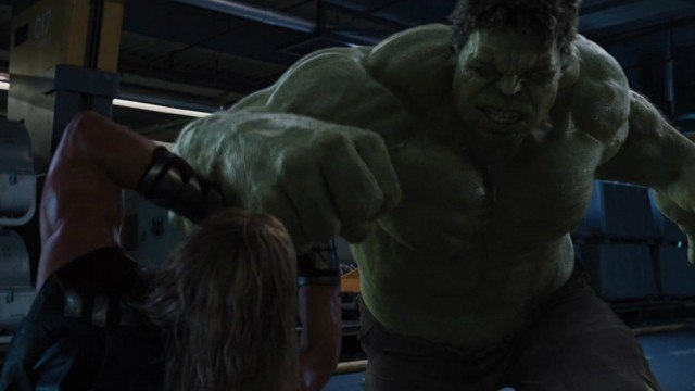 Hulk and Chris Hemworth in The Avengers